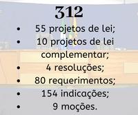 Câmara analisa 312 matérias no ano